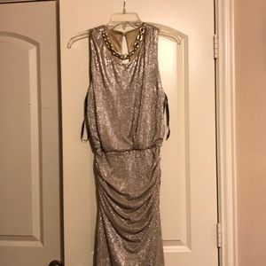 gold floor length evening gown